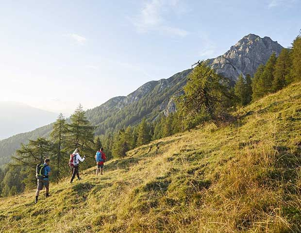 Wanderer auf Wiese nähe Innsbruck